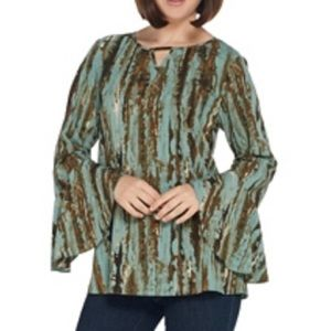 Belle by Kim Gravel patina print blouse neck trim